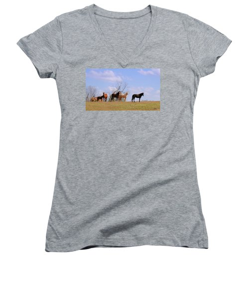 Women's V-Neck T-Shirt (Junior Cut) featuring the photograph Horses On The Hill by Bonnie Willis
