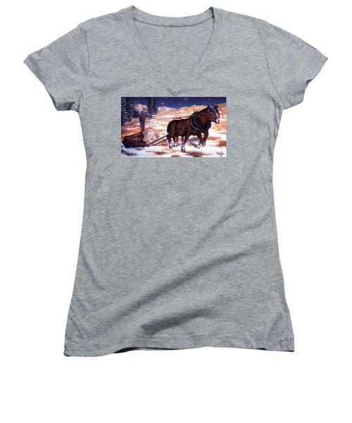 Horses Pulling Log Women's V-Neck T-Shirt (Junior Cut) by Curtiss Shaffer