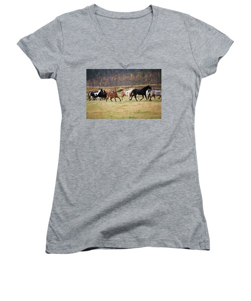 Horses Women's V-Neck T-Shirt (Junior Cut) by Sharon Jones