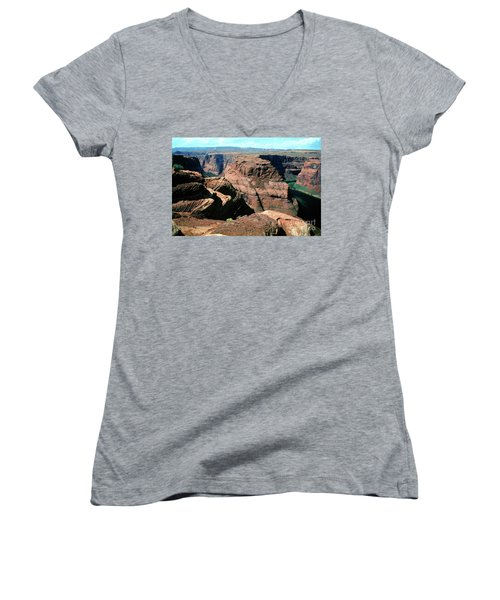 Horseshoe Bend Of The Colorado River Women's V-Neck T-Shirt (Junior Cut) by Wernher Krutein