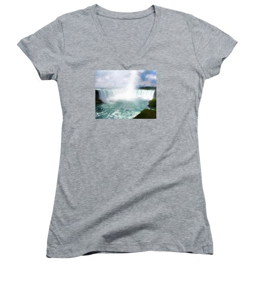 Horseshoe Falls - Niagara Falls Women's V-Neck T-Shirt (Junior Cut) by John Freidenberg