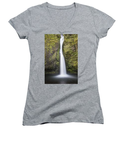 Horsetail Falls In Oregon With Splash Women's V-Neck