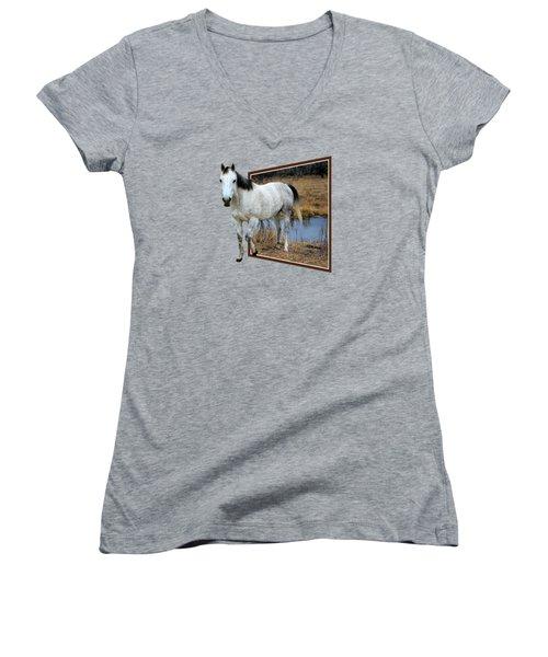 Horsing Around Women's V-Neck T-Shirt (Junior Cut) by Shane Bechler