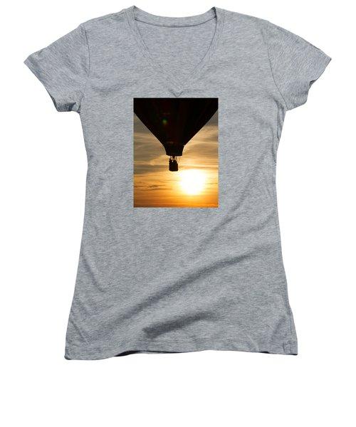 Hot Air Balloon Sunset Silhouette Women's V-Neck T-Shirt (Junior Cut) by Brian Caldwell