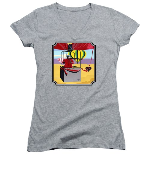 Hot Air Ballooning - Abstract - Pop Art -  Square Format Women's V-Neck (Athletic Fit)