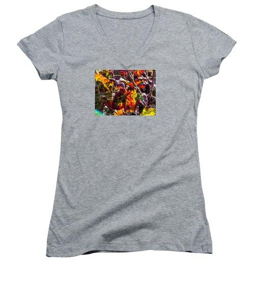 Hot Autumn Colors In The Vineyard 04 Women's V-Neck T-Shirt (Junior Cut) by Arik Baltinester
