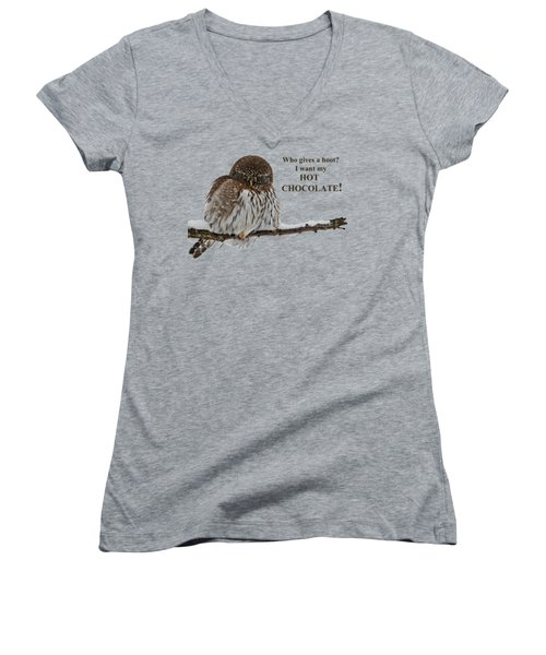 Hot Chocolate Owl Women's V-Neck (Athletic Fit)