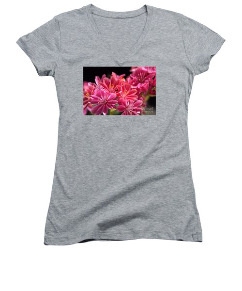 Hot Glowing Pink Delight Of Flowers Women's V-Neck T-Shirt