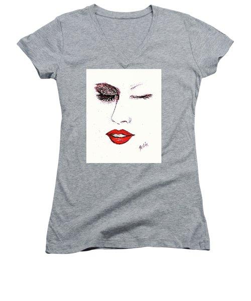 Hot Lips Women's V-Neck (Athletic Fit)