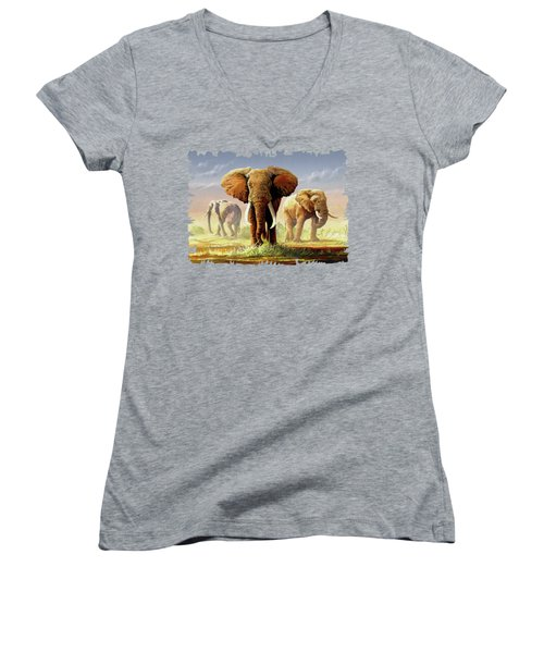 Hot Mara Afternoon Women's V-Neck T-Shirt (Junior Cut) by Anthony Mwangi