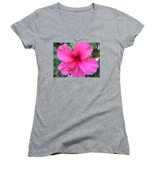 Hot Pink Hibiscus  Women's V-Neck T-Shirt