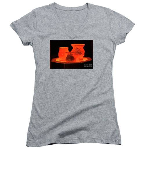 Women's V-Neck T-Shirt (Junior Cut) featuring the photograph Hot Pots by Skip Willits