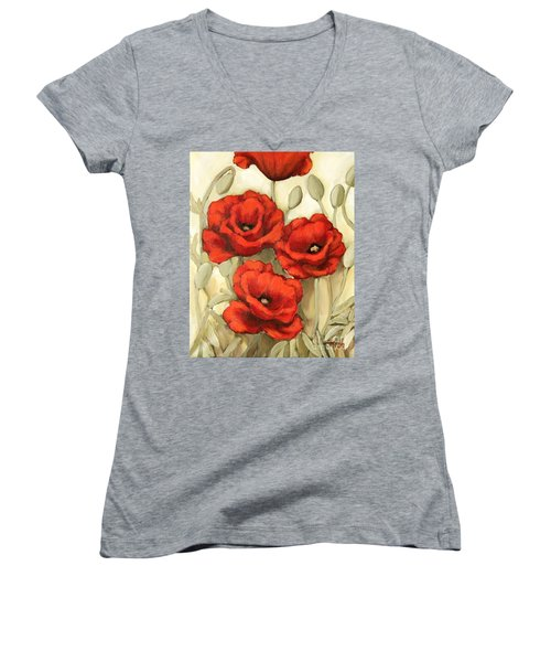 Hot Red Poppies Women's V-Neck T-Shirt (Junior Cut) by Inese Poga