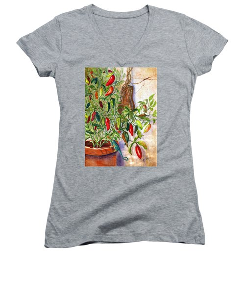 Women's V-Neck T-Shirt (Junior Cut) featuring the painting Hot Sauce On The Vine by Marilyn Smith