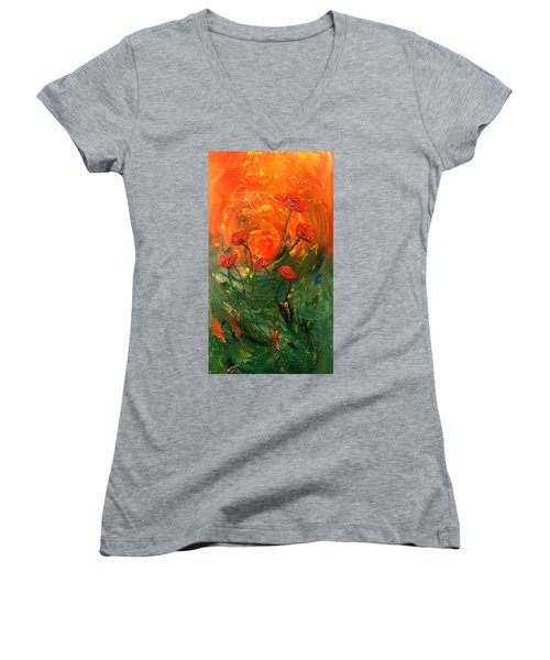 Hot Summer Poppies Women's V-Neck T-Shirt (Junior Cut) by Dorothy Maier