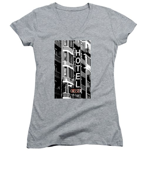 Women's V-Neck T-Shirt (Junior Cut) featuring the photograph Hotel Chelsea by Christopher Woods