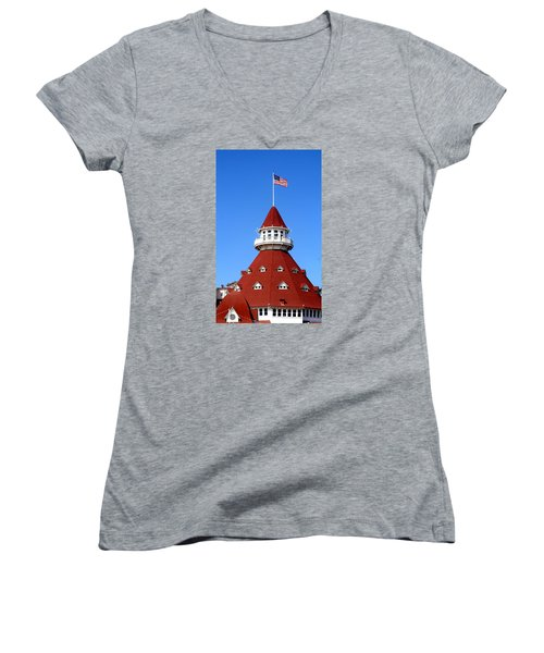 Women's V-Neck T-Shirt (Junior Cut) featuring the photograph Hotel Del Coronado by Christopher Woods