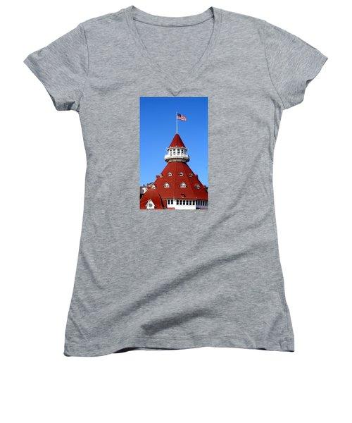 Hotel Del Coronado Women's V-Neck T-Shirt
