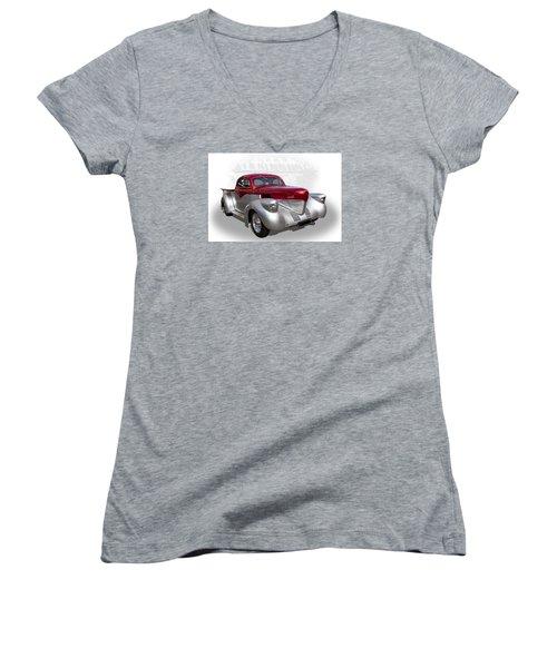 Hotrod Utility Women's V-Neck T-Shirt (Junior Cut) by Keith Hawley