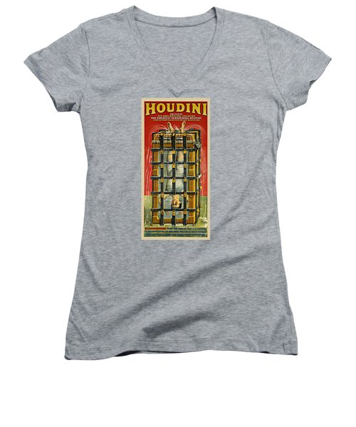 Houdini Advertisement 1916 Women's V-Neck T-Shirt (Junior Cut) by Andrew Fare