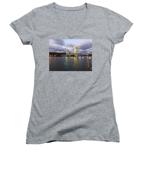 Houghton - Hancock Bridge Women's V-Neck T-Shirt (Junior Cut) by Janice Adomeit