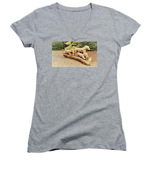 Hounds On The Run Women's V-Neck T-Shirt (Junior Cut) by John Williams