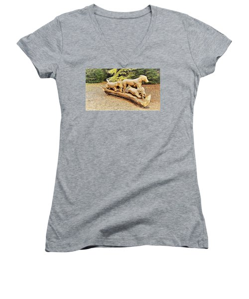 Hounds On The Run Women's V-Neck (Athletic Fit)