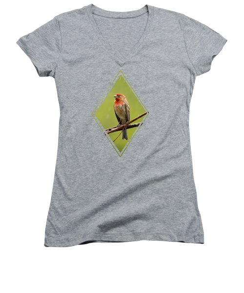 House Finch In The Rain Women's V-Neck T-Shirt (Junior Cut) by Christina Rollo