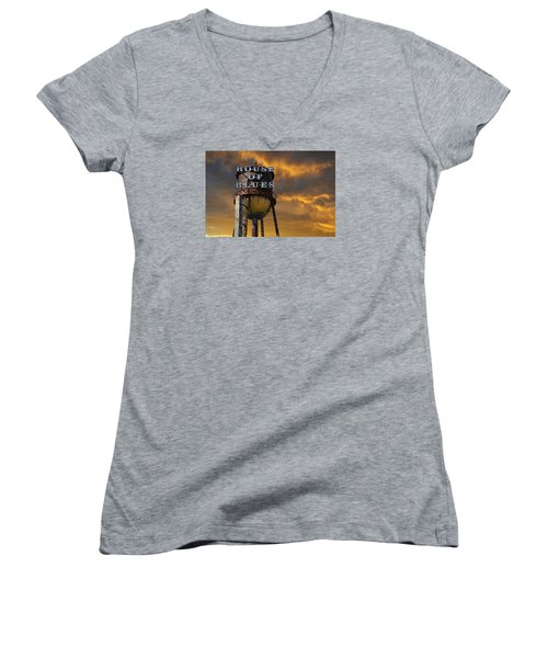 Women's V-Neck T-Shirt (Junior Cut) featuring the photograph House Of Blues  by Laura Fasulo