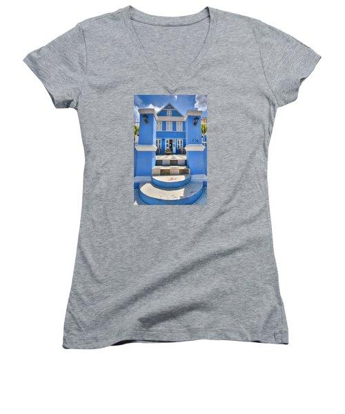 House Of Blues Women's V-Neck T-Shirt (Junior Cut) by Nadia Sanowar
