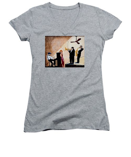 Women's V-Neck T-Shirt (Junior Cut) featuring the painting House Of The Rising Sun by Barbara McMahon