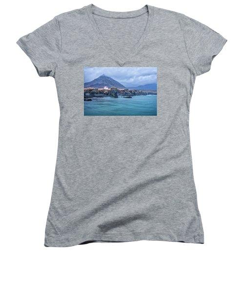 House On Ocean Cliff In Iceland Women's V-Neck T-Shirt