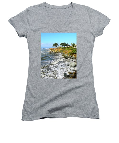 Women's V-Neck T-Shirt (Junior Cut) featuring the photograph House On The Point Cayucos California by Barbara Snyder