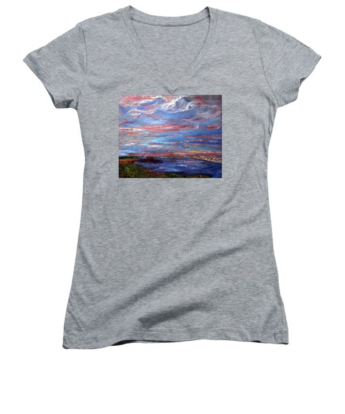 Women's V-Neck T-Shirt (Junior Cut) featuring the painting House On The Point Sunset by Michael Helfen