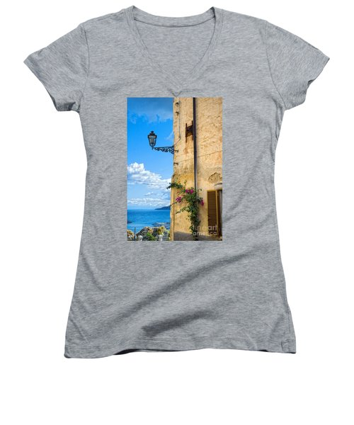 House With Bougainvillea Street Lamp And Distant Sea Women's V-Neck (Athletic Fit)