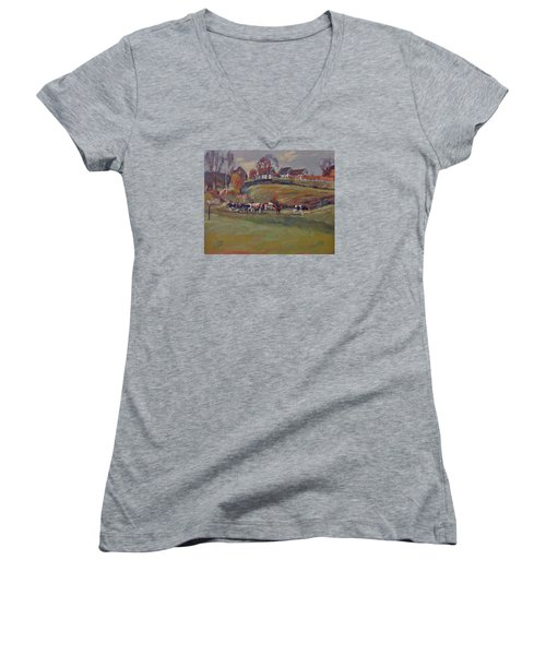 Women's V-Neck T-Shirt (Junior Cut) featuring the painting Houses And Cows In Schweiberg by Nop Briex