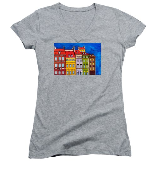 Women's V-Neck T-Shirt (Junior Cut) featuring the painting Houses In The Oldtown Of Warsaw by Dora Hathazi Mendes