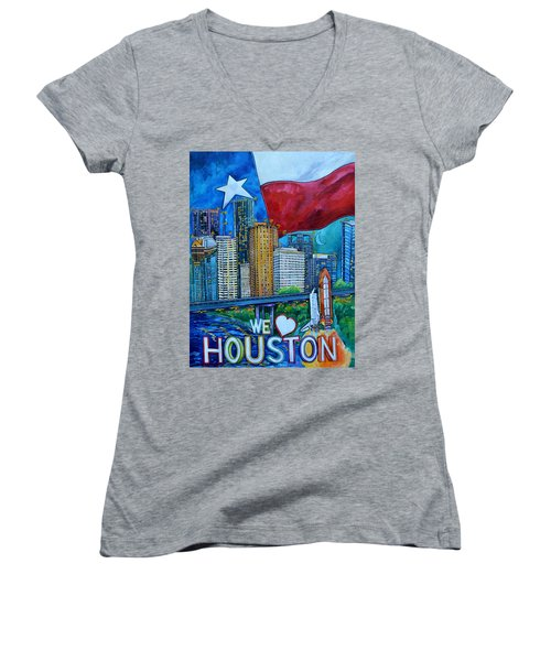 Women's V-Neck T-Shirt (Junior Cut) featuring the painting Houston Montage by Patti Schermerhorn