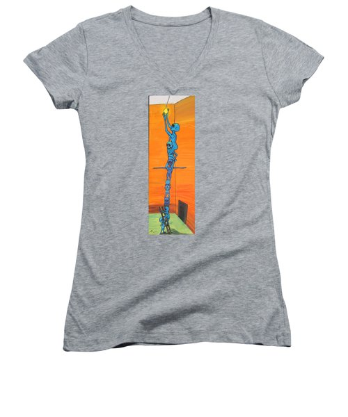 How Many Aliens Does It Take To Screw In A Light Bulb?  Seven. Women's V-Neck T-Shirt (Junior Cut)