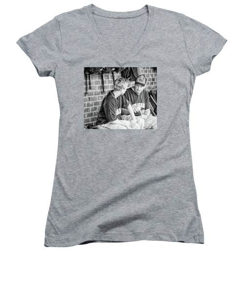 Women's V-Neck T-Shirt (Junior Cut) featuring the photograph How To Throw A Curve Ball by Benanne Stiens
