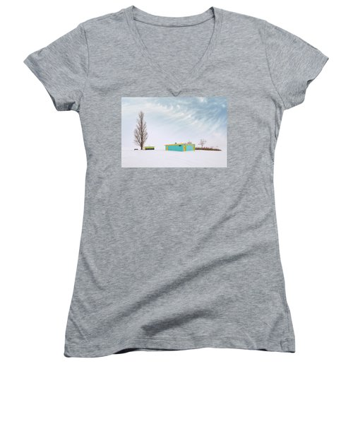 Women's V-Neck T-Shirt featuring the photograph How To Wear Bright Colors In The Winter by John Poon