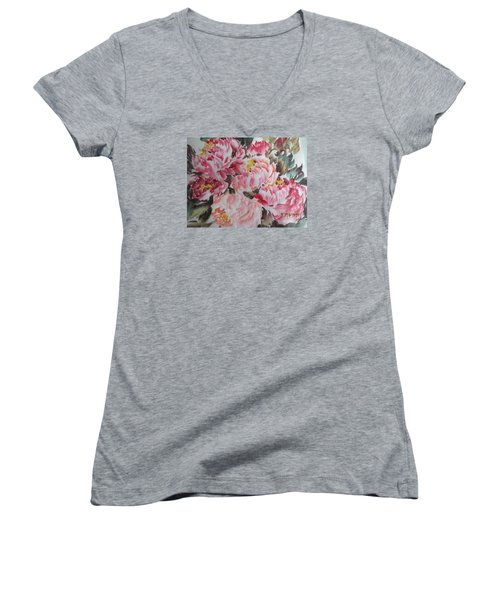 Women's V-Neck T-Shirt (Junior Cut) featuring the painting Hp11192015-0755 by Dongling Sun