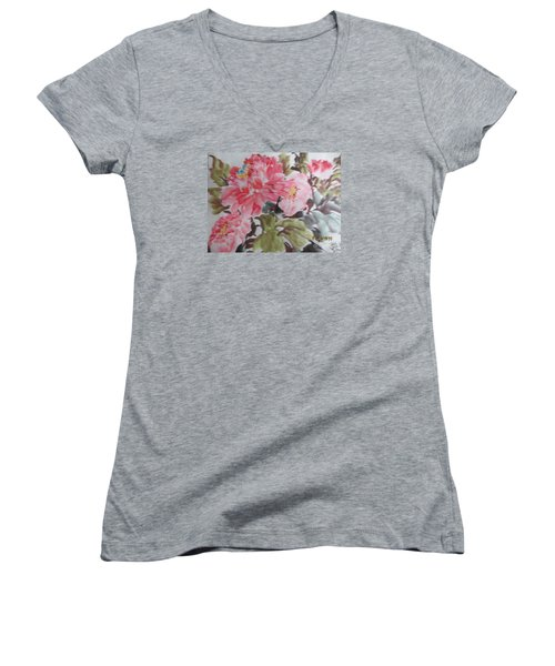Women's V-Neck T-Shirt (Junior Cut) featuring the painting Hp11192015-0757 by Dongling Sun