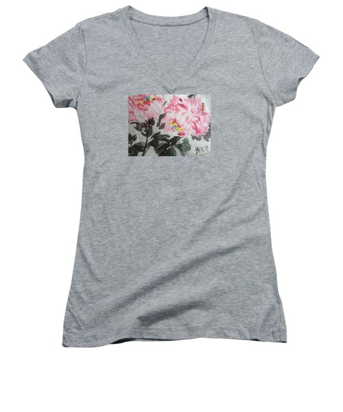 Women's V-Neck T-Shirt (Junior Cut) featuring the painting Hp11192015-0770 by Dongling Sun