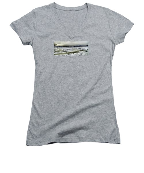 Women's V-Neck T-Shirt (Junior Cut) featuring the photograph Hudson River Cold Spring, New York by Rafael Quirindongo