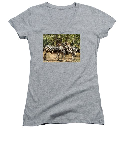Women's V-Neck T-Shirt (Junior Cut) featuring the photograph Hug Time by Betty-Anne McDonald