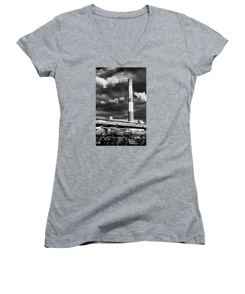 Huge Industrial Chimney And Smoke In Black And White Women's V-Neck T-Shirt (Junior Cut) by John Williams