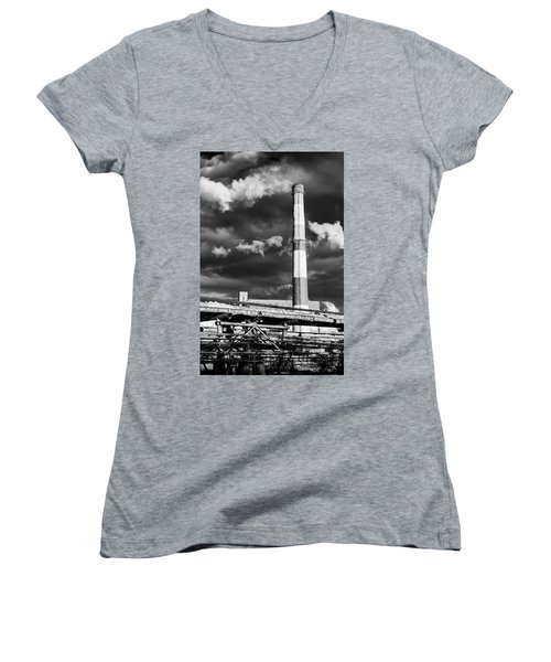 Huge Industrial Chimney And Smoke In Black And White Women's V-Neck