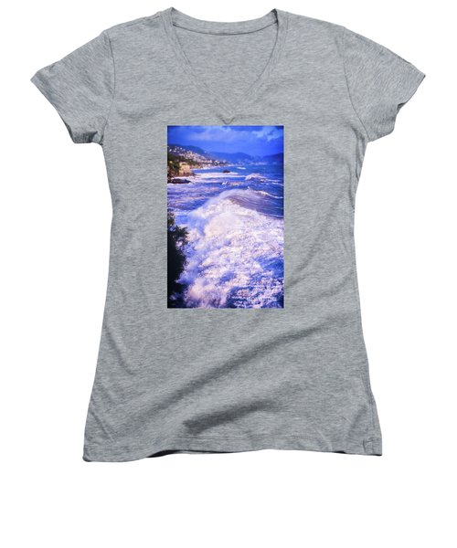 Women's V-Neck T-Shirt featuring the photograph Huge Wave In Ligurian Sea by Silvia Ganora
