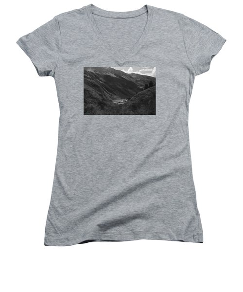 Hugged By The Mountains Women's V-Neck T-Shirt (Junior Cut) by Cesare Bargiggia
